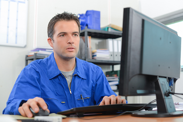 Worried man at his computer