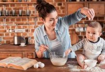 Mother and baby cooking