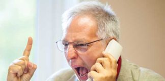 Angry- man on phone