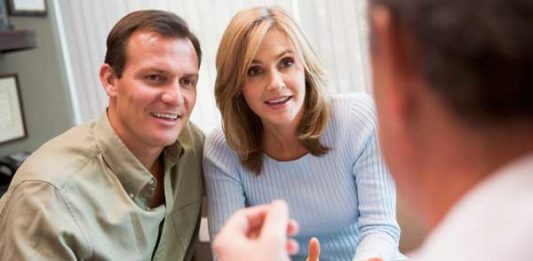 Couple at an IVF clinic